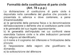 Atto di costituzione di parte civile in udienza